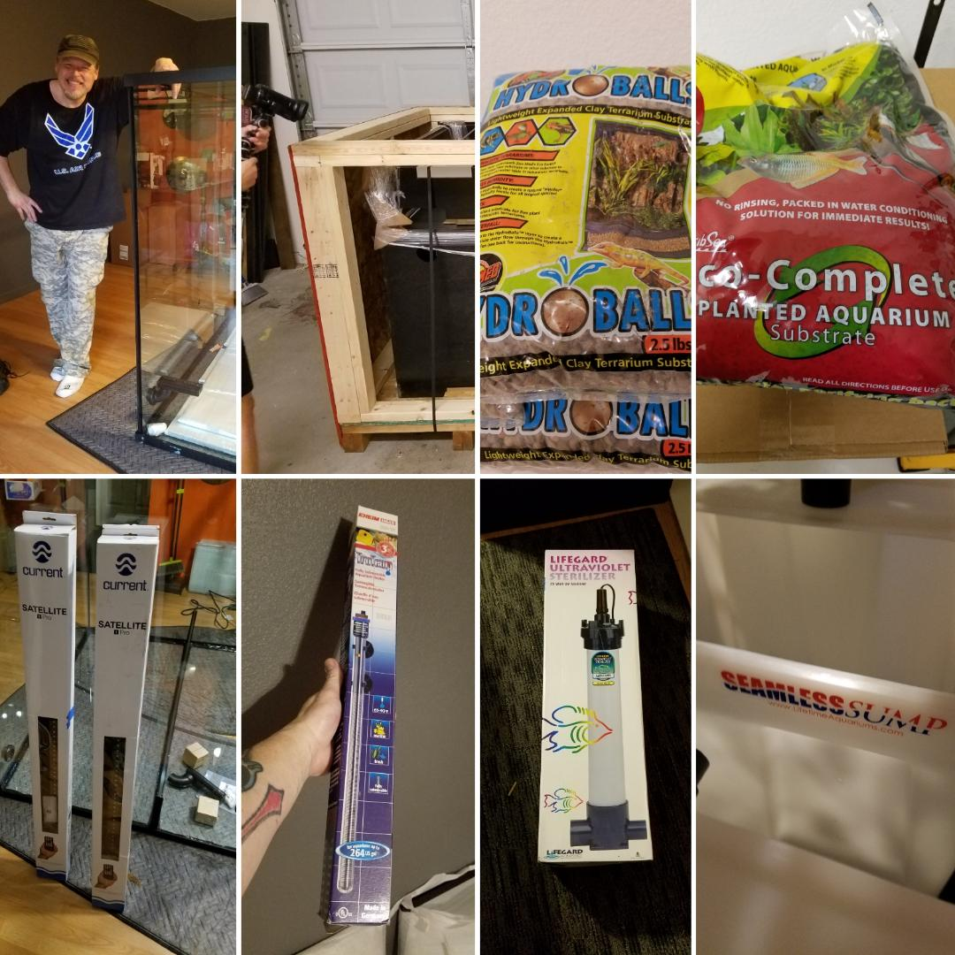 Montage of many of the supplies for The Rainforest Exhibit provided by Custom Aquariums, including the LARGEST AMPHIBIOUS AQUARIUM they have ever made, and will be THE Rainforest Exhibit!