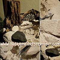 Montage of the high density foam  provided by DUNAUSA to The Rainforest Exhibit.    MAG, artist, is turning it into a mud wall/rocky insert that will...